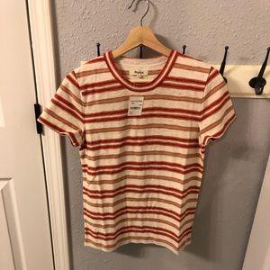 MADEWELL Striped Knit Shrunken tshirt Size M